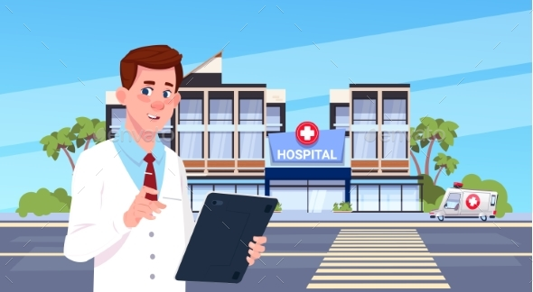 Male Doctor Standing Over Modern Hospital Building - Health/Medicine Conceptual