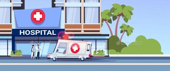 Modern Hospital Building with Team of Doctors - Health/Medicine Conceptual