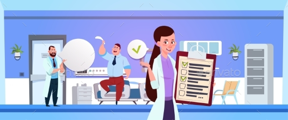 Hospital Ward With Female Nurse Holding Clapboard - Health/Medicine Conceptual