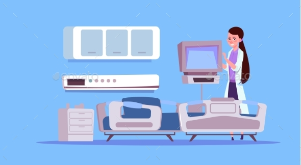 Doctor Check Hospital Ward Equipment - Health/Medicine Conceptual