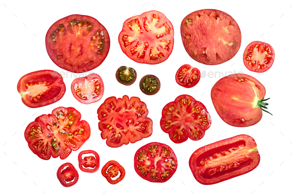 Sliced tomatoes, top view - Stock Photo - Images