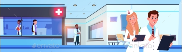 Team of Professional Doctors in Modern Hospital - Health/Medicine Conceptual