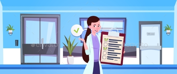 Female Doctor Hold Clipboard Over Hospital Waiting - Health/Medicine Conceptual