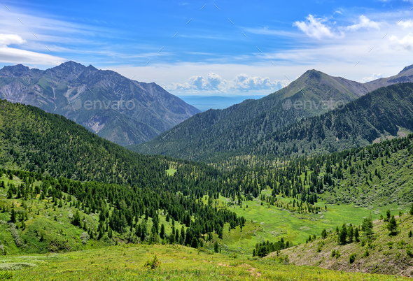 Mountain landscape in Siberia  - Stock Photo - Images