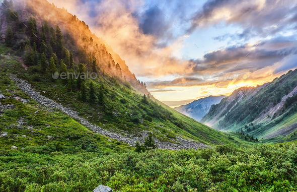 Dawn in mountains - Stock Photo - Images