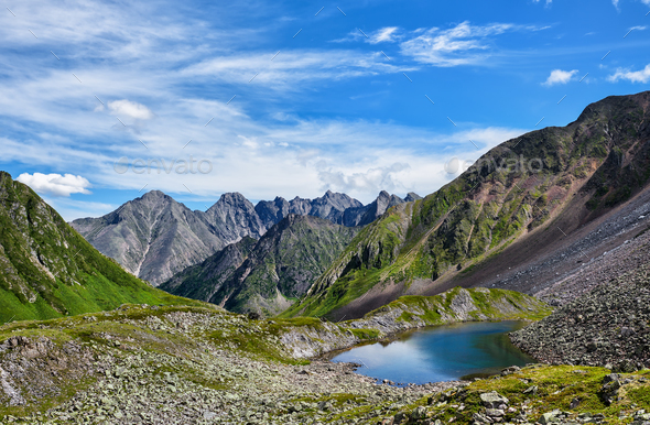 Mountain landscape with lake  - Stock Photo - Images
