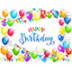 Blue Text Happy Birthday with Balloons and Multicolored Confetti - GraphicRiver Item for Sale