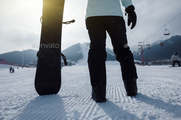 Snowboarding on winter - Stock Photo - Images