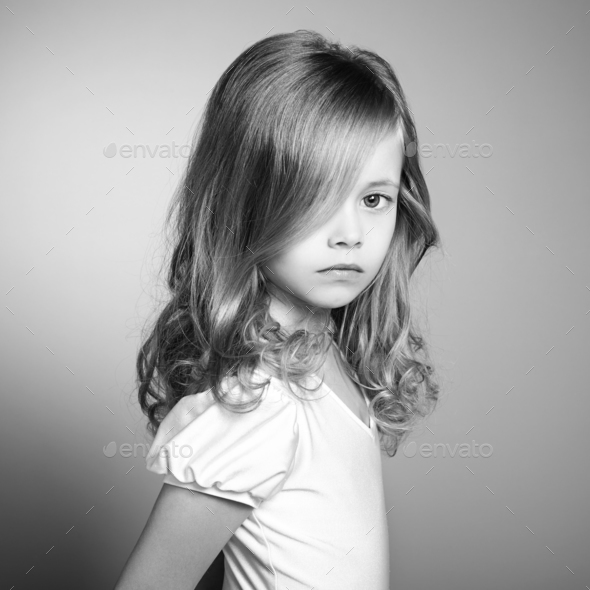 Portrait of pretty little girl - Stock Photo - Images