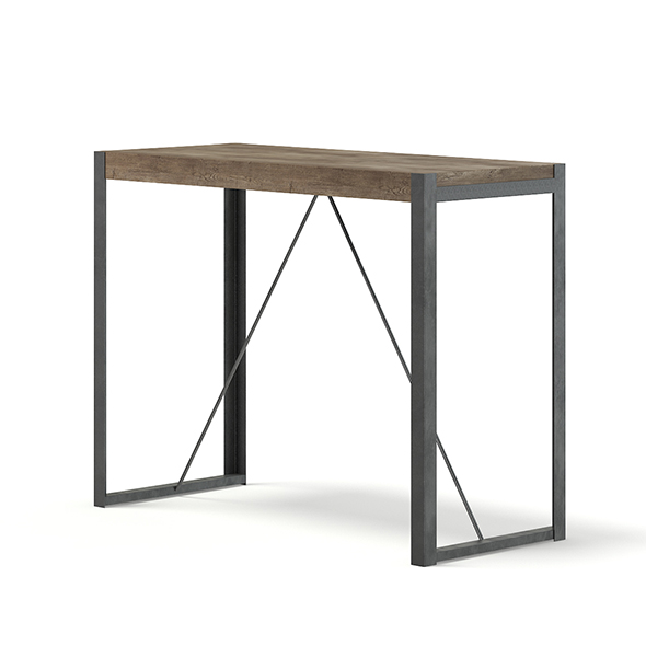 Tall Wood and Metal Table 3D Model - 3DOcean Item for Sale