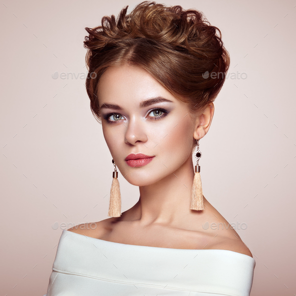 Brunette woman with elegant and shiny hairstyle - Stock Photo - Images