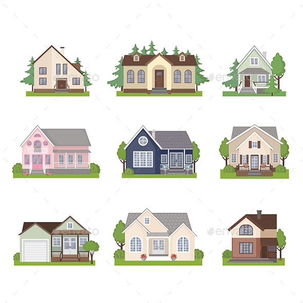 Set of Cottage House Icons - Buildings Objects