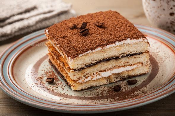 Tiramisu cake on a plate - Stock Photo - Images