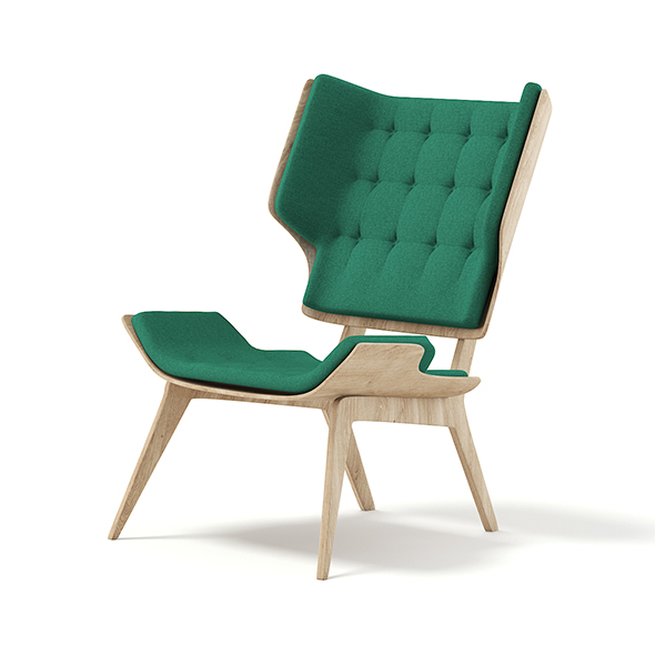 Wooden Chair with Green Seat 3D Model - 3DOcean Item for Sale