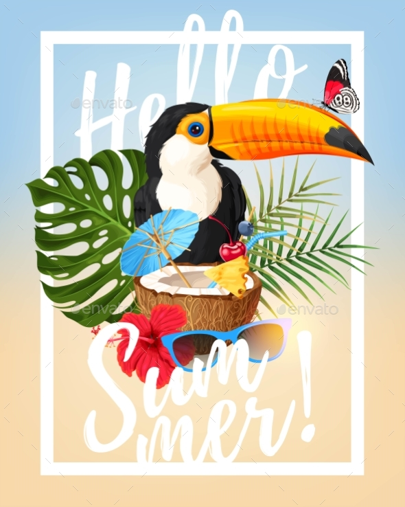 Vector Summer Party Card - Landscapes Nature