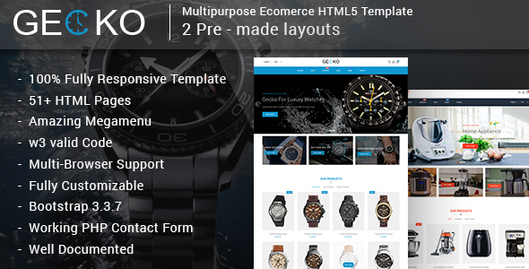 Gecko - Responsive Multipurpose E-Commerce HTML5 Template - Retail Site Templates