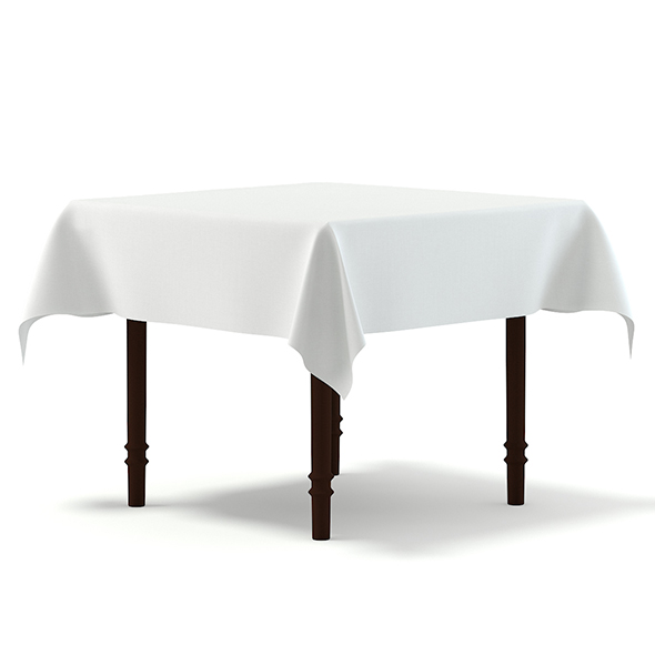 Classic Table with a Tablecloth 3D Model - 3DOcean Item for Sale