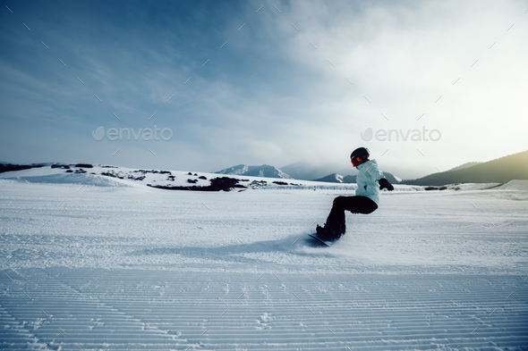 Snowboarding in winter - Stock Photo - Images
