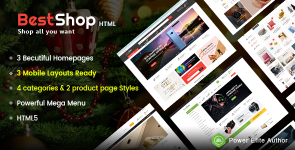BestShop - Top MultiPurpose HTML Template With Mobile Layouts - Retail Site Templates