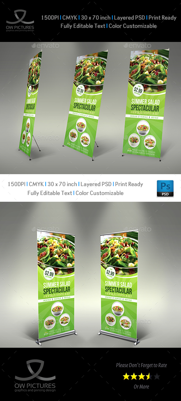 Salad Signage Banner Roll Up Template - Signage Print Templates