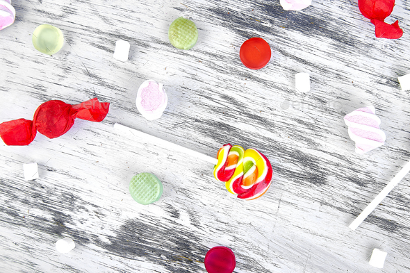Many different candies  on white background - Stock Photo - Images