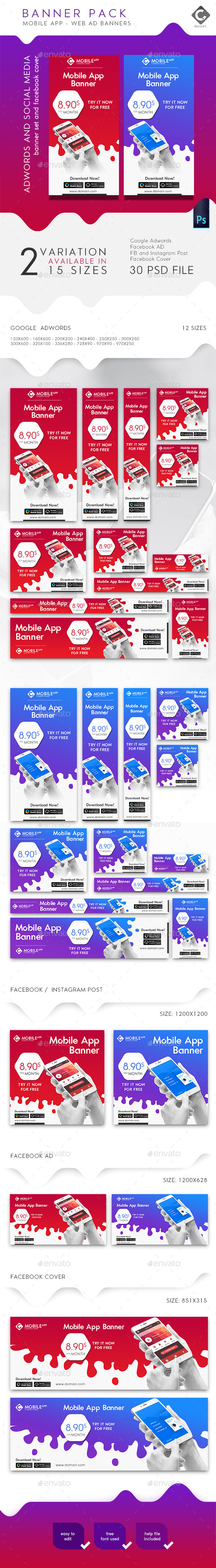 Mobile App Banner Pack - Banners & Ads Web Elements