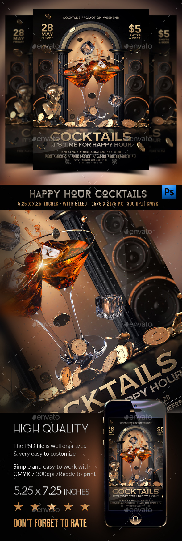 Happy Hour Cocktails Flyer - Clubs & Parties Events