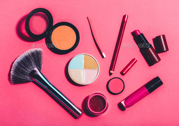 Multiple beauty tools on a pink background - Stock Photo - Images