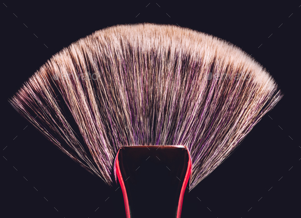 Conturing makeup brush on black background - Stock Photo - Images