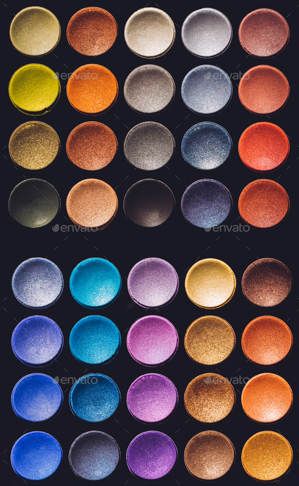 Colorful eyeshadow set on a black background. - Stock Photo - Images