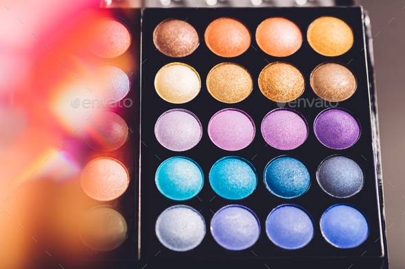 Eyeshadow palette with colorful eyeshadows. - Stock Photo - Images