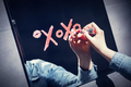 Woman writing xoxo on a mirror with red lipstick. - PhotoDune Item for Sale