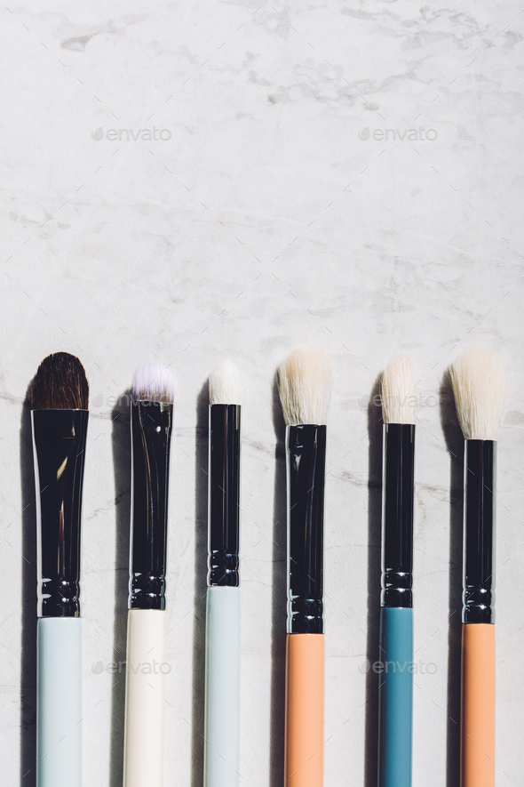 Six makeup brushes laying together. - Stock Photo - Images
