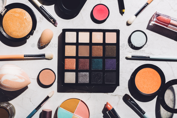 Professional makeup tools laying together - Stock Photo - Images