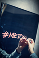 "Girl writing ""#metoo"" on a mirror with a red lipstick. - PhotoDune Item for Sale"