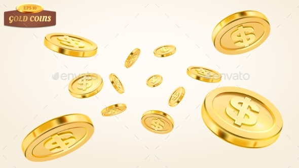 Realistic Gold Coin Explosion or Splash on White - Backgrounds Decorative