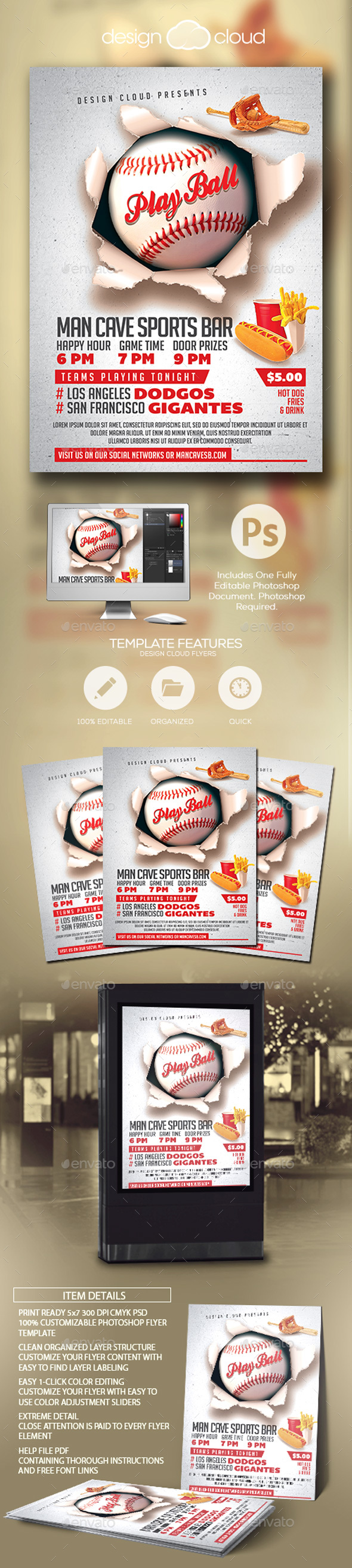 Play Ball Baseball Event Flyer Template - Sports Events