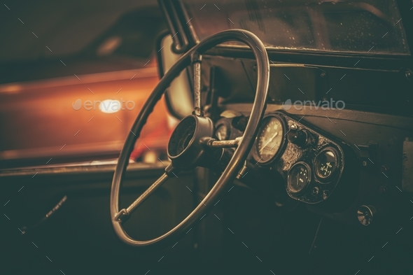 Aged Classic Car Interior - Stock Photo - Images