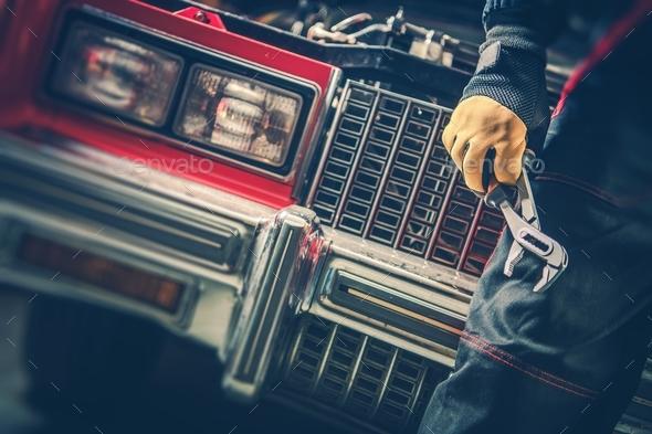 Classic Car Repair Restoration - Stock Photo - Images
