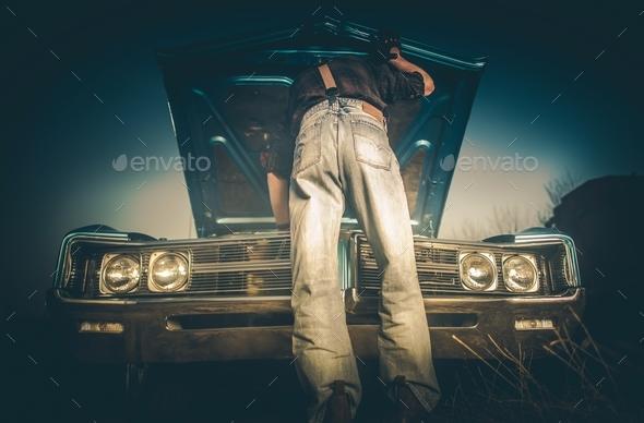 Fixing Broken Classic Car - Stock Photo - Images