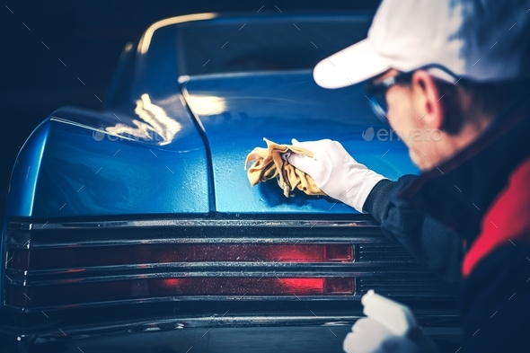 Vintage Classic Car Cleaning - Stock Photo - Images