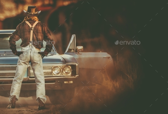 Cowboy Vintage Ride - Stock Photo - Images