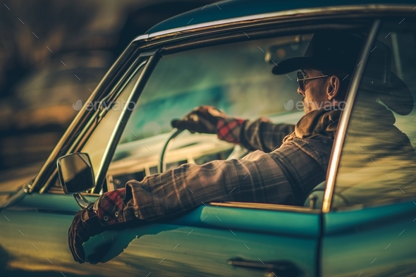 Cowboy Muscle Car Drive - Stock Photo - Images
