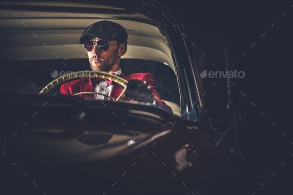 Elegant Vintage Car Driver - Stock Photo - Images