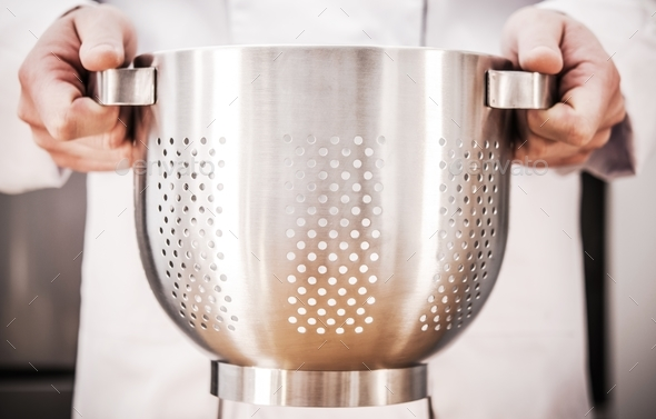 Chef with Colander in Hands - Stock Photo - Images