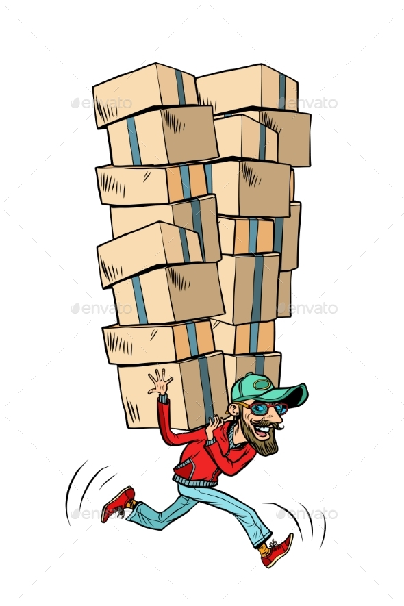 Courier with Boxes Fast Delivery of Cargo - Concepts Business