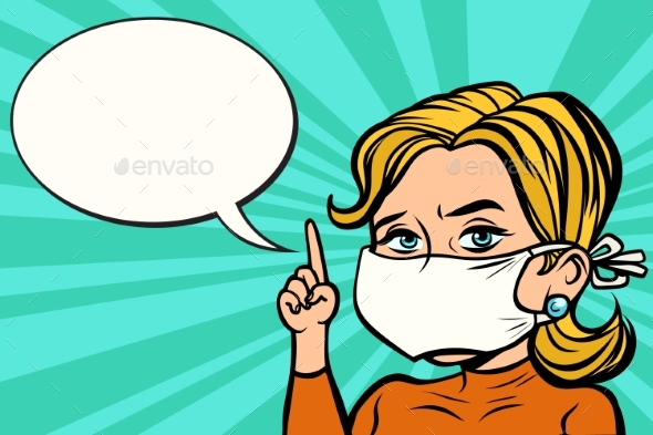 Woman in Medical Mask - People Characters
