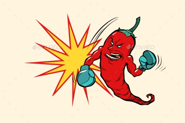 Red Chili Pepper Boxer Character - Food Objects