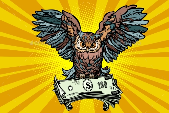 Owl Holding in its Talons the Money - Animals Characters
