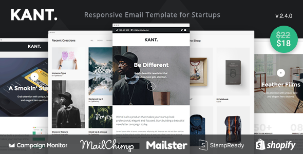 Kant - Responsive Email for Startups: 50+ Sections + Online Builder + MailChimp + Mailster + Shopify - Email Templates Marketing